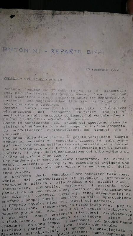 documento del 1992 sulle attività interne nell'ospedale psichiatrico